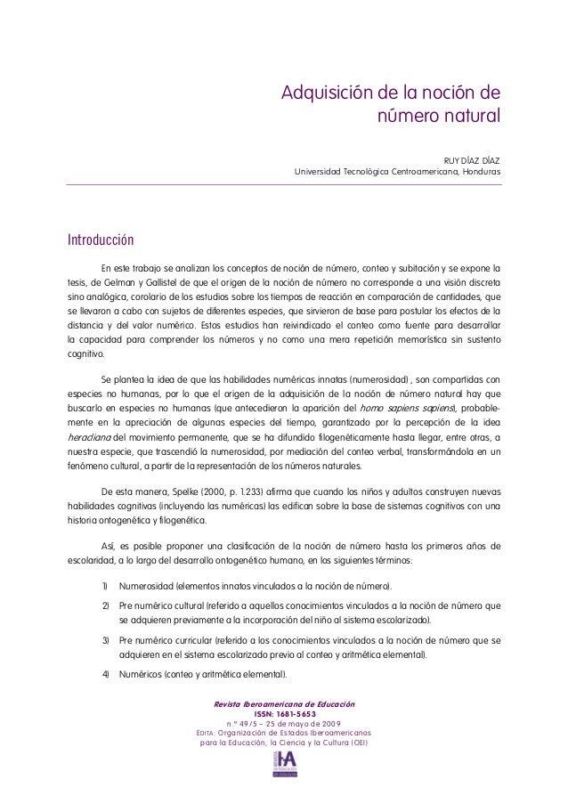 Adquisición de la noción de número natural RUY DÍAZ DÍAZ Universidad Tecnológica Centroamericana, Honduras Introducción En...