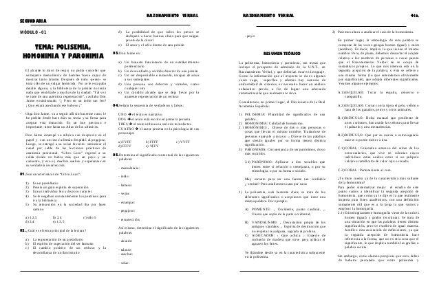 RAZONAMIENTO VERBAL RAZONAMIENTO VERBAL 4to. SECUNDARIA MÓDULO - 01 TEMA: POLISEMIA, HOMONIMIA Y PARONIMIA El alcaide lo m...