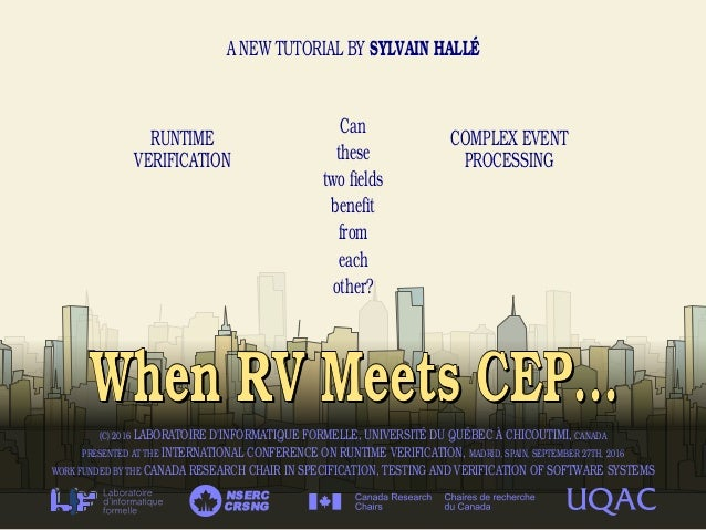 When RV Meets CEP...When RV Meets CEP... A NEW TUTORIAL BY SYLVAIN HALLÉ RUNTIME VERIFICATION COMPLEX EVENT PROCESSING CRS...