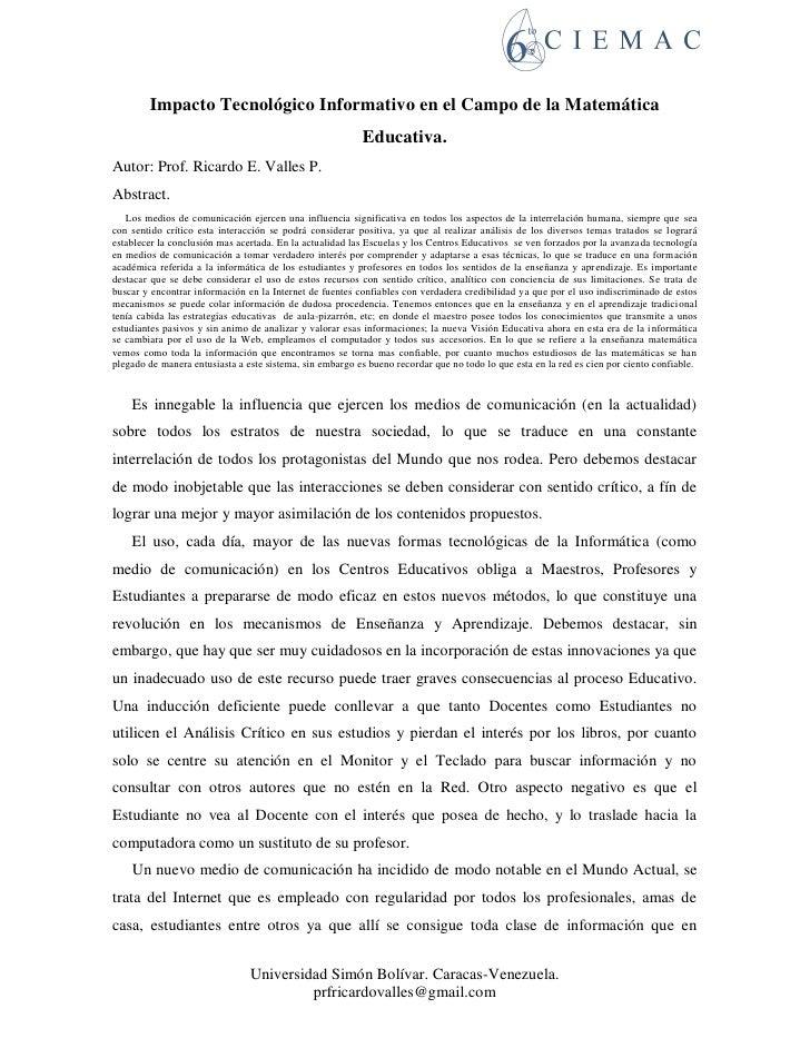 Impacto Tecnológico Informativo en el Campo de la Matemática                                                           Edu...