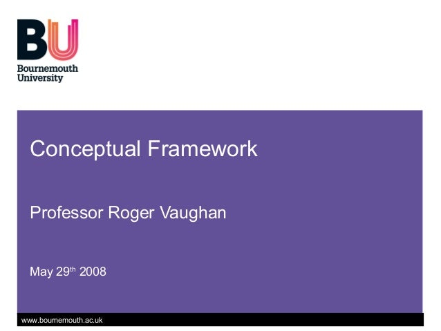 www.bournemouth.ac.uk Conceptual Framework Professor Roger Vaughan May 29th 2008