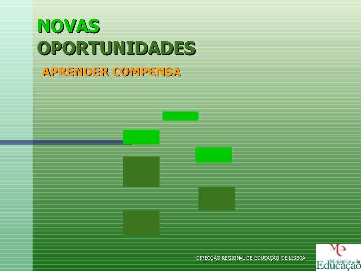 NOVAS OPORTUNIDADES   APRENDER COMPENSA DIRECÇÃO REGIONAL DE EDUCAÇÃO DE LISBOA