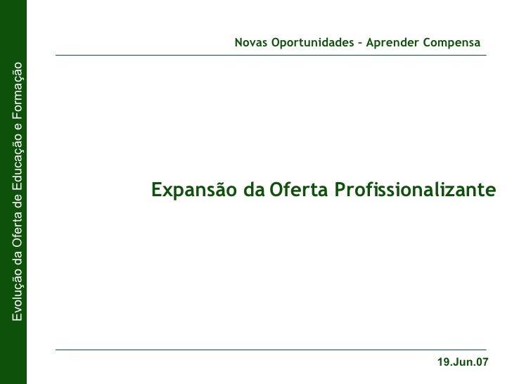 Expansão da Oferta Profissionalizante 19.Jun.07 Evolução da Oferta de Educação e Formação Novas Oportunidades – Aprender C...