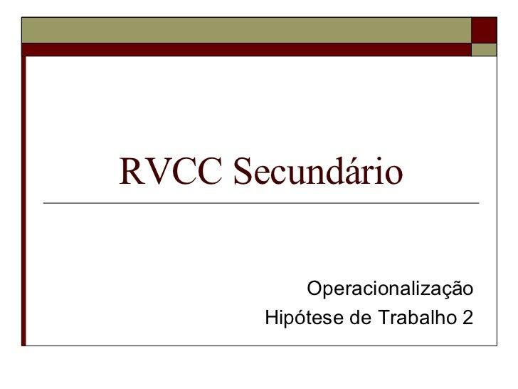RVCC Secundário Operacionalização Hipótese de Trabalho 2