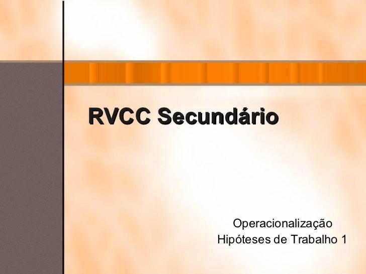RVCC   Secundário Operacionalização Hipóteses de Trabalho 1