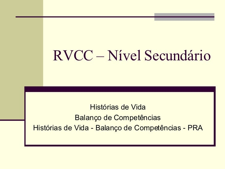 RVCC – Nível Secundário Histórias de Vida Balanço de Competências Histórias de Vida - Balanço de Competências - PRA