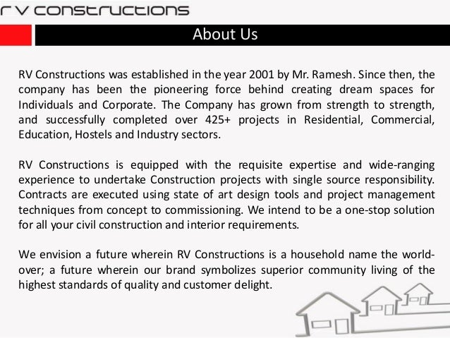 Rv Constructions Construction Amp Infrastructure