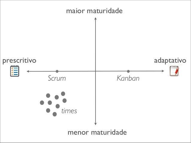 maior maturidade  times prescritivo  adaptativo Scrum  Kanban  menor maturidade