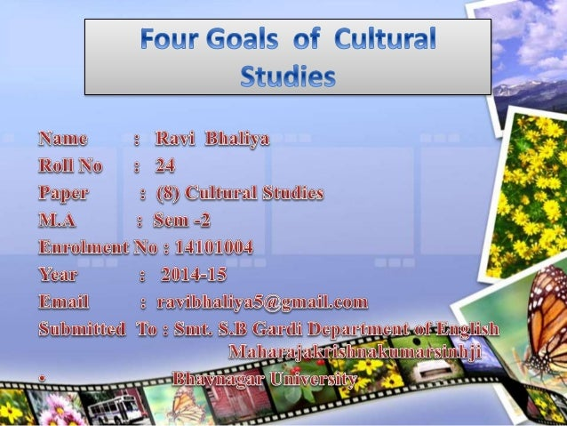 Four Goals Interdisciplinary Studies Politically engaged Separation of high and low or Popular culture Means of Production