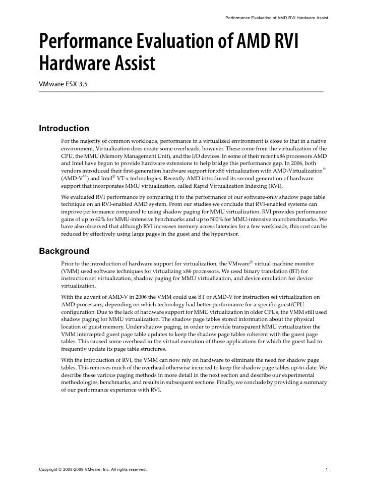 Performance Evaluation of AMD™ RVI