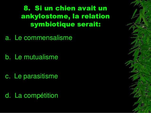 8. Si un chien avait un ankylostome, la relation symbiotique serait: a. Le commensalisme b. Le mutualisme c. Le parasitism...
