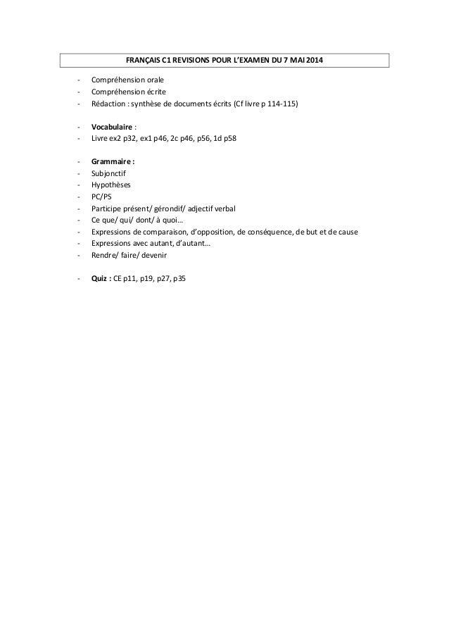 FRANÇAIS C1 REVISIONS POUR L'EXAMEN DU 7 MAI 2014 - Compréhension orale - Compréhension écrite - Rédaction : synthèse de d...
