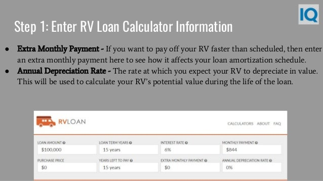 5. Step 1: Enter RV Loan Calculator ...