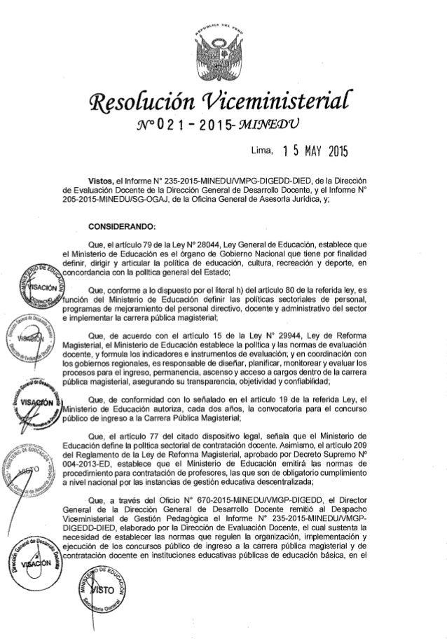 """msoíucíõn """"Vicemínísteríaí 9V`°Ü2 i ' ZtŠHS-MIWEGDU Lima,  l 5 MAY 2015  Vistos,  el lnforme N° 235-201ö-MENEDUNMPG-DIGEDD..."""