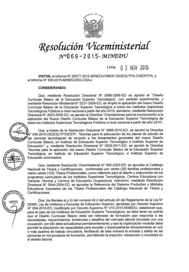 O  Resofucién 'Vzceministeriaf . 'N°069 -2015-91/ZIHVEQTU  Lima.  0 2 NOV 2015  VISTOS,  el Informe N° 00077-2015-MlNEDUNM...