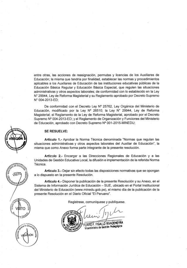 Reglamento del Auxiliar de Educación - RVM.052-2016-MINEDU