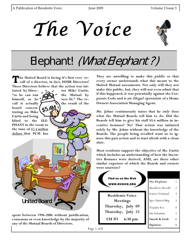 A Publication of Residents Voice                               June 2009                                                  ...