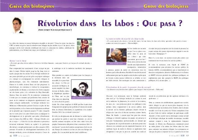Grève des biologistes Grève des biologistes  Révolution dans les labos : Que pasa ?  ;,ĂƐƚĂƐŝĞŵƉƌĞ͊ƚũĞǀĞƵdžƉĂƌƟĐŝƉĞƌĂƵƐƐŝ͊Ϳ...