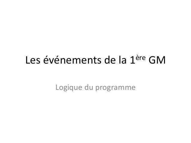 Les événements de la  ère 1  Logique du programme  GM