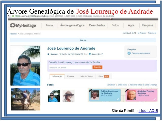 Família de José Lourenço de Andrade e Maria Soares de Andrade Árvore Genealógica de José Lourenço de Andrade Site da Famíl...