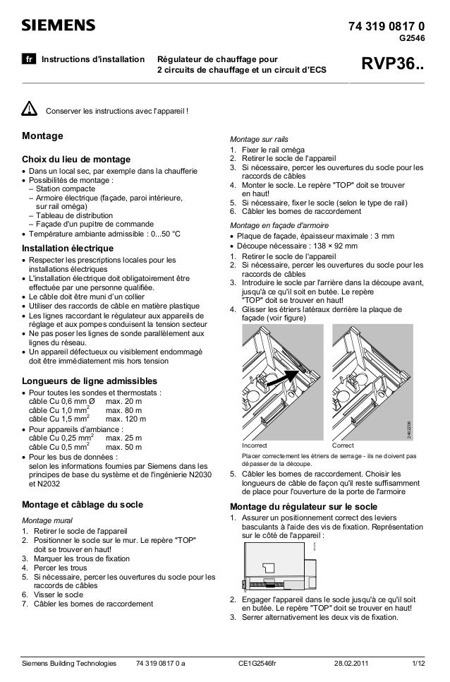 74 319 0817 0 G2546 fr  Instructions d'installation  RVP36..  Régulateur de chauffage pour 2 circuits de chauffage et un c...