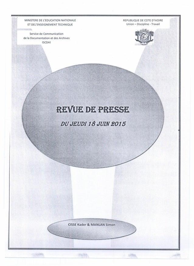 MINISTERE DE L'EDUCATION NATIONALE ET DEL'ENSEIGNEMENT TECHNIQUE REPUBLIQUE DE COTE D'IVOIRE Union - Discipline - Travail ...