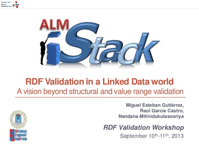 Center for Open Middleware Center for Open Middleware RDF Validation in a Linked Data world A vision beyond structural and...