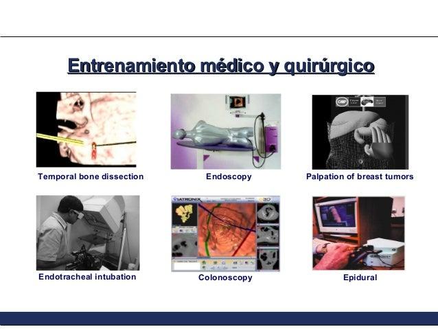 Entrenamiento médico y quirúrgico  Temporal bone dissection  Endotracheal intubation  Endoscopy  Colonoscopy  Palpation of...