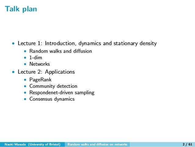 Random walks and diffusion on networks Slide 2