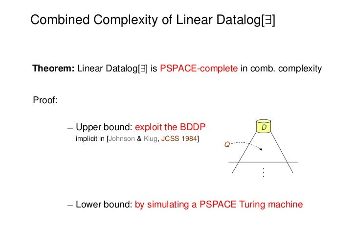 Combined Complexity of Linear Datalog[9]Theorem: Linear Datalog[9] is PSPACE-complete in comb. complexityProof:         ¡ ...