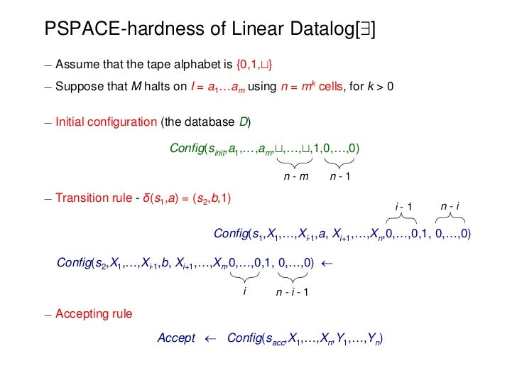 PSPACE-hardness of Linear Datalog[9]¡ Assume that the tape alphabet is {0,1,t}¡ Suppose that M halts on I = a1…am using n ...