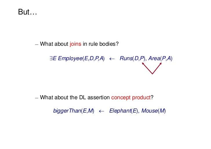 But…   ¡ What about joins in rule bodies?         9E Employee(E,D,P,A)  Runs(D,P), Area(P,A)   ¡ What about the DL assert...