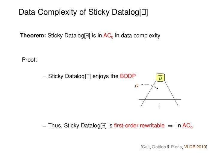 Data Complexity of Sticky Datalog[9]Theorem: Sticky Datalog[9] is in AC0 in data complexityProof:         ¡ Sticky Datalog...