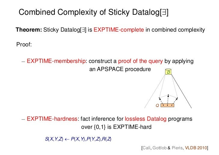 Combined Complexity of Sticky Datalog[9]Theorem: Sticky Datalog[9] is EXPTIME-complete in combined complexityProof: ¡ EXPT...