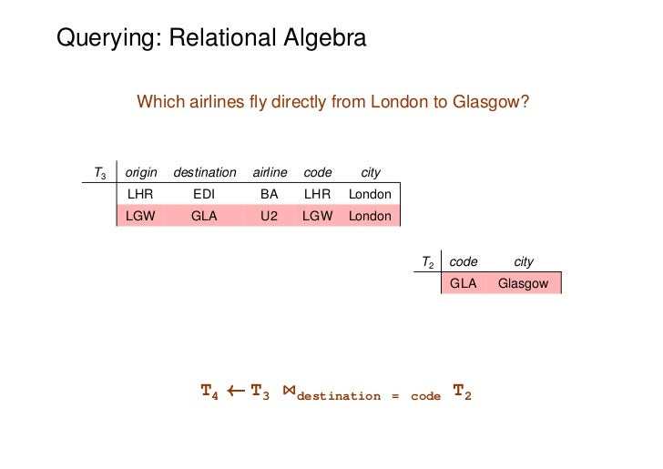 Querying: Relational Algebra          Which airlines fly directly from London to Glasgow?   T3   origin   destination   ai...