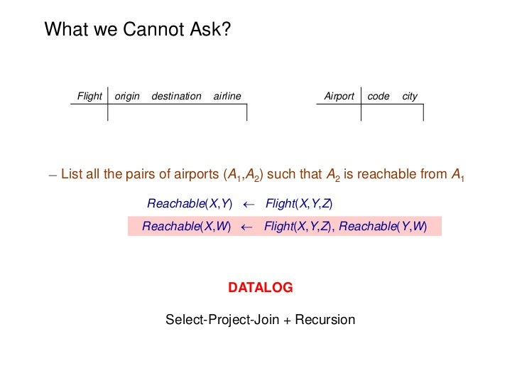 What we Cannot Ask?     Flight   origin    destination   airline       Airport   code   city¡ List all the pairs of airpor...