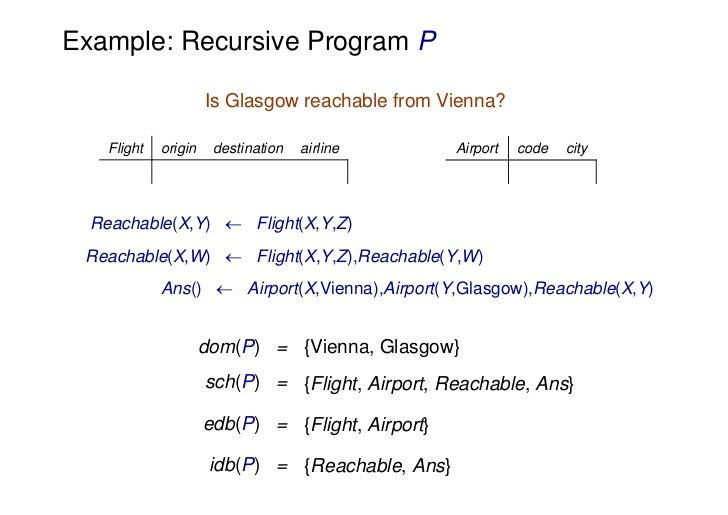 Example: Recursive Program P                      Is Glasgow reachable from Vienna?    Flight   origin    destination   ai...