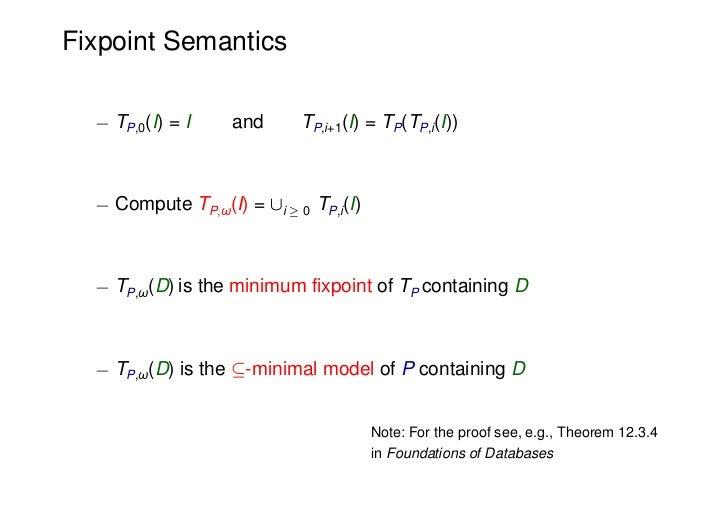 Fixpoint Semantics  ¡ TP,0(I) = I    and      TP,i+1(I) = TP(TP,i(I))  ¡ Compute TP,ω(I) = [i ¸ 0 TP,i(I)  ¡ TP,ω(D) is th...