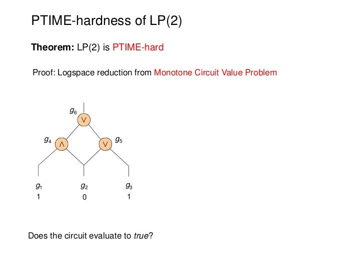PTIME-hardness of LP(2)Theorem: LP(2) is PTIME-hard Proof: Logspace reduction from Monotone Circuit Value Problem         ...