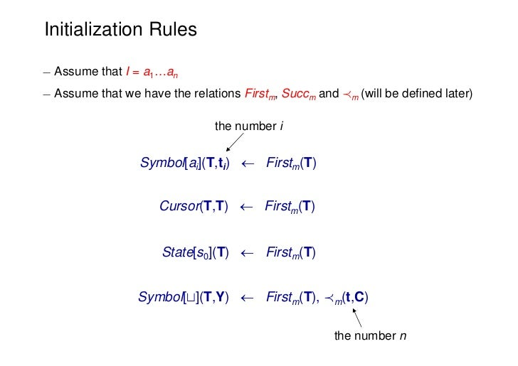 Initialization Rules¡ Assume that I = a1…an¡ Assume that we have the relations Firstm, Succm and Ám (will be defined later...