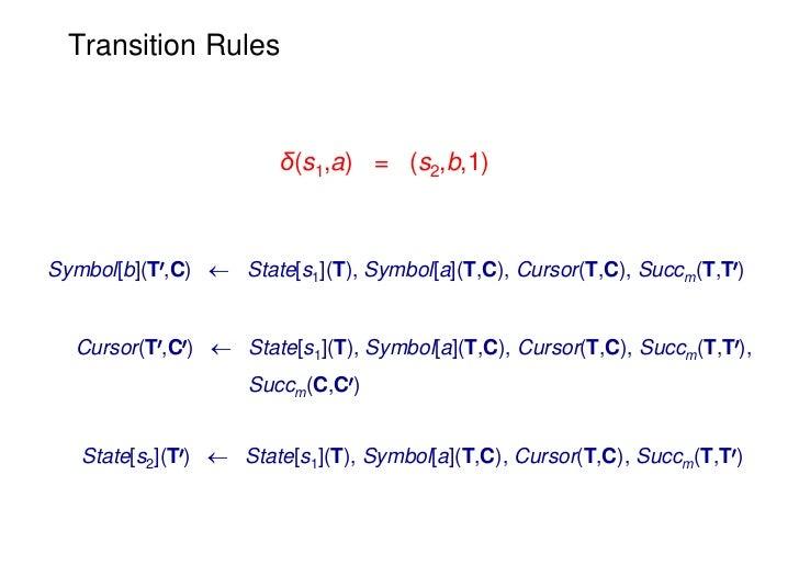 Transition Rules                        δ(s1,a) = (s2,b,1)Symbol[b](T0,C)  State[s1](T), Symbol[a](T,C), Cursor(T,C), Suc...