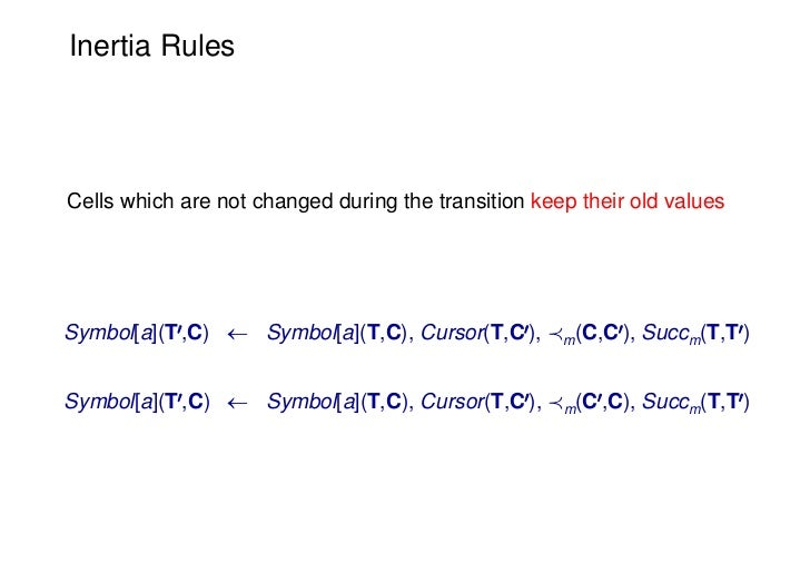Inertia RulesCells which are not changed during the transition keep their old valuesSymbol[a](T0,C)  Symbol[a](T,C), Curs...