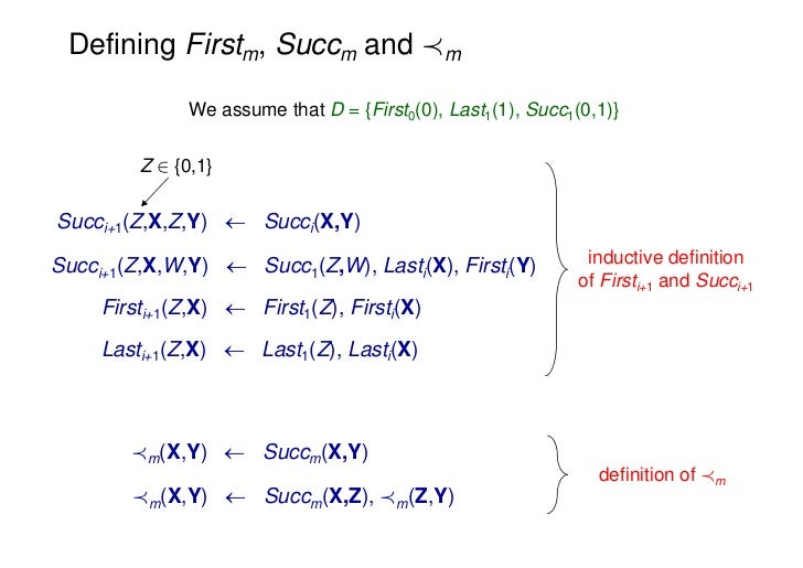 Defining Firstm, Succm and Ám              We assume that D = {First0(0), Last1(1), Succ1(0,1)}         Z 2 {0,1}Succi+1(Z...