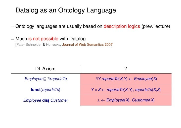 Datalog as an Ontology Language¡ Ontology languages are usually based on description logics (prev. lecture)¡ Much is not p...
