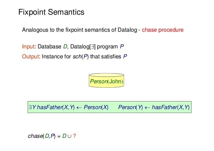 Fixpoint Semantics Analogous to the fixpoint semantics of Datalog - chase procedure Input: Database D, Datalog[9] program ...