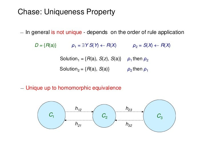 Chase: Uniqueness Property¡ In general is not unique - depends on the order of rule application      D = {R(a)}        ρ1 ...