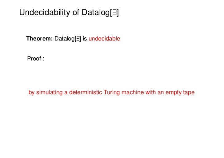 Undecidability of Datalog[9] Theorem: Datalog[9] is undecidable  Proof :  by simulating a deterministic Turing machine wit...