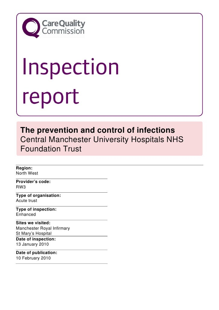 The prevention and control of infections   Central Manchester University Hospitals NHS   Foundation Trust  Region: North W...
