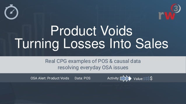 Product Voids Turning Losses Into Sales Value:$$$$Activity:OSA Alert: Product Voids Data: POS Real CPG examples of POS & c...