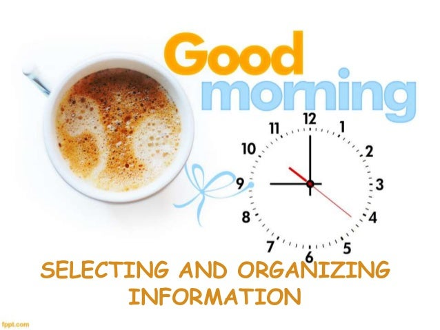 SELECTING AND ORGANIZING INFORMATION